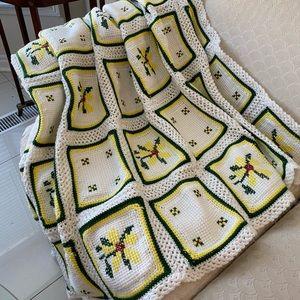 Vintage handmade floral cross stitch crohet Afghan